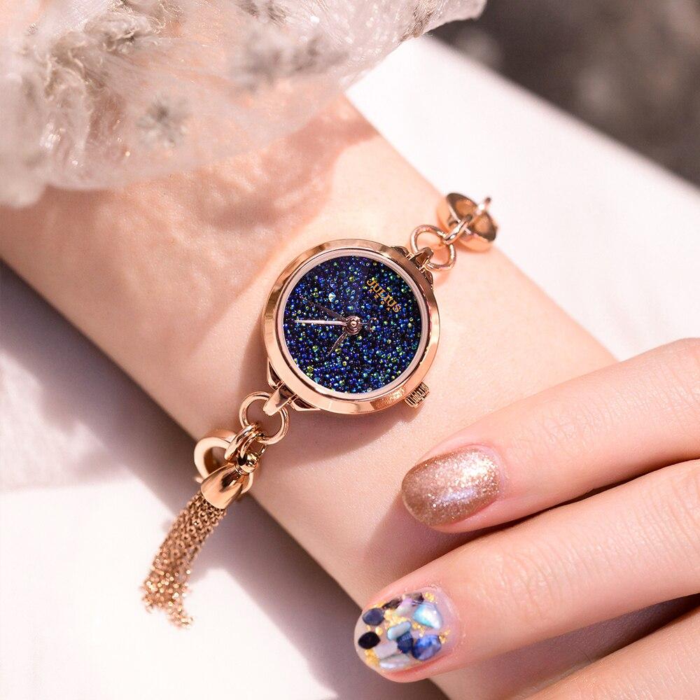 Małe Julius Lady zegarek damski japonia kwarcowy moda godzin Tassel zegar bransoletki i łańcuszki na rękę Top dziewczyny Valentine prezent urodzinowy Box w Zegarki damskie od Zegarki na  Grupa 1