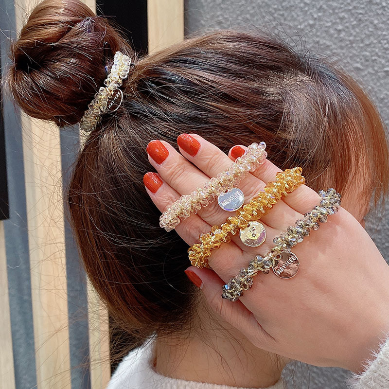 New Women Luxury Shining Crystal Elastic Hair Bands Ponytail Holder Scrunchie Rubber Bands Headband Fashion Hair Accessories