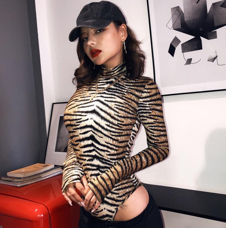 Long Sleeve Tiger Animal Print Bodysuits Women Sexy Bodycon Turtleneck Cotton Autumn Winter Body Ladies Fashion