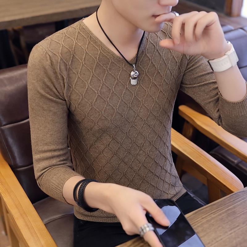 Men Sweater V-Neck Men Pullover Sweater Men Coat XXXL 2019 Autumn Three-dimensional Stripes Man Sweaters Pull Clothes Homme C239