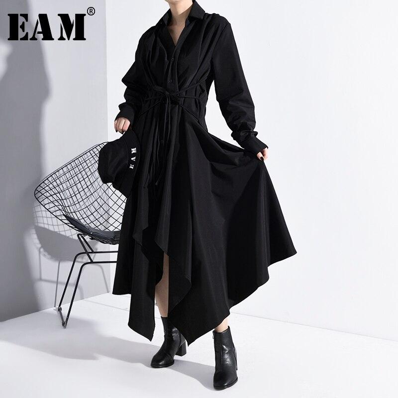 [EAM] Women Black Asymmetrical Bandage Long Shirt Dress New Lapel Long Sleeve Loose Fit Fashion Tide Spring Autumn 2020 A534