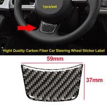 1 pçs de alta qualidade de fibra carbono volante adesivo interior do carro 59*37mm para audi sline a4 a5 a6 s4 s5 s6 s7 q3