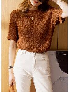 Женская трикотажная футболка с круглым вырезом, Элегантная трикотажная футболка с короткими рукавами и крючком, лето 2020