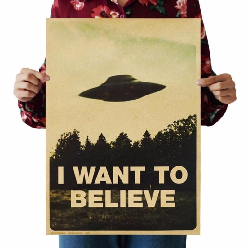 Classic Movie The X-Files I Want To Believe Poster Vintage Retro Bar Wall Art Wall Decals Home Decor Painting Wall Sticker