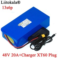 LiitoKala 48V 20ah 13s6p Lithium Battery Pack 48V 20AH 2000W electric bicycle battery Built in 50A BMS XT60 plug+54.6V Charger