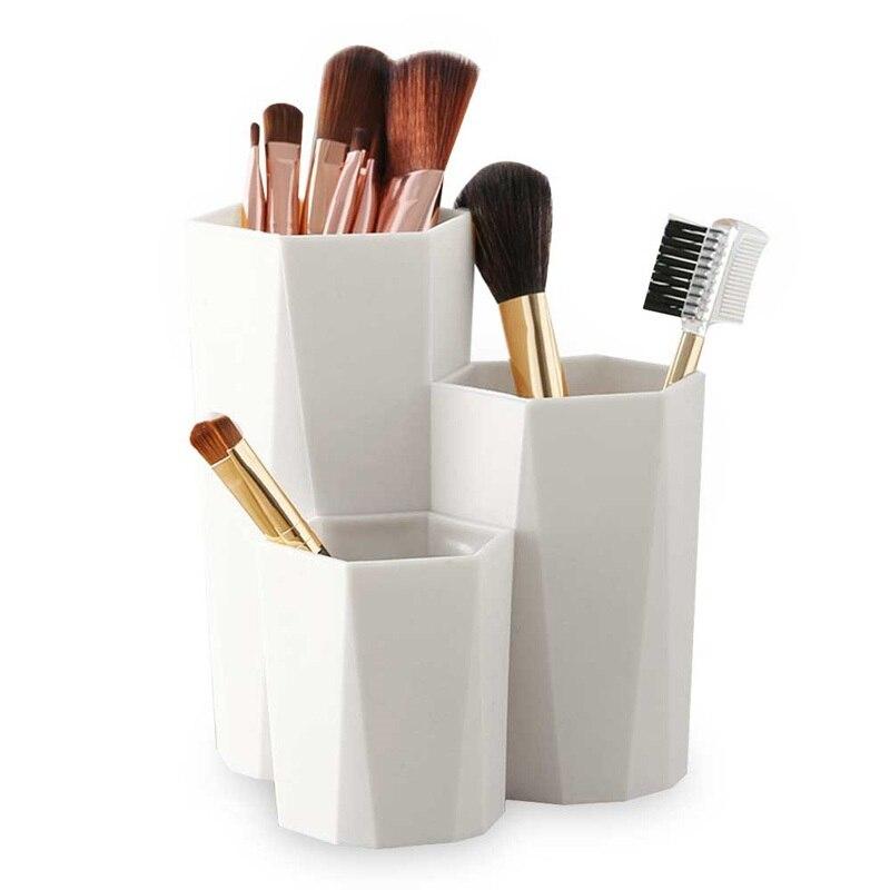 3 Lattices Cosmetic Brush Organizer Box Makeup Cosmetic Holder Make Up Tools Boxes Makeup Table Organizer Display Rack Kits