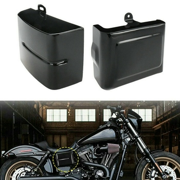 1 Pair Motorcycle Side Battery Cover Guard Frame Fits for Dyna Fat Bob Super Glide Wide Glide Switchback 06-17 (Gloss Black)
