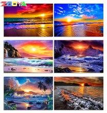 Zooya 5d diy алмазная живопись пейзаж вышивка пляж закат полный