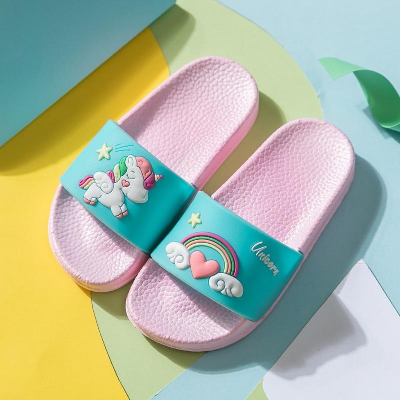 New Cartoon Rainbow Slippers Unicorn Baby Boy Girl Children Summer Beach Water Indoor Home Shoes Children Outdoor New Sandals