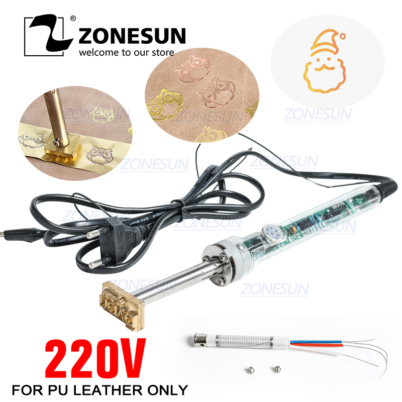 ZONESUN 220V/60W Handheld Brand Hot Stamping Machine And Cooled Leather Embossed Custom LOGO Trademark With Shipping Cost