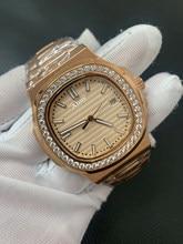 Ouro rosa P-P marca de luxo dos homens relógio diamante moldura aaa enrolamento automático vidro safira u1 fábrica