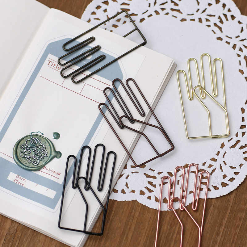 Retro Hand Vorm Paperclip Bookmark Decoratieve Metalen Bindmiddel Clips Diy Creativiteit Merkt Notebook Kantoor School Accessoires