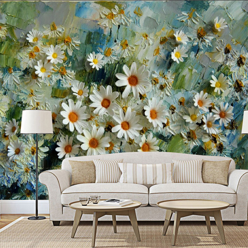 Western Style Chrysanthemum Stereo Oil Painting TV Backdrop Tea Shop Leisure Bar Coffee Shop Cool Mural Wallpaper