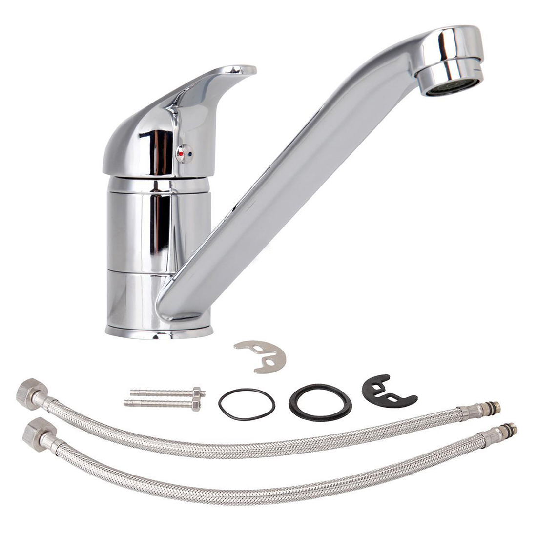Kitchen Faucet Bathroom Waterfall Faucet Wash Basin Faucet Water Diffuser Chrome Plated Kitchen Mixer Tap Ith 40cm Braided Hoses