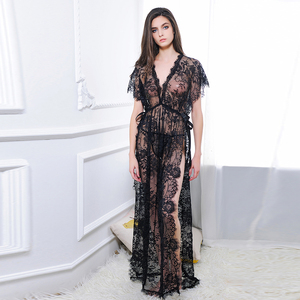 Image 4 - Ohyeahlover Short sleeve transparent lace nightgown with belt maxi side split women night robe fishnet dressing gown RL80262