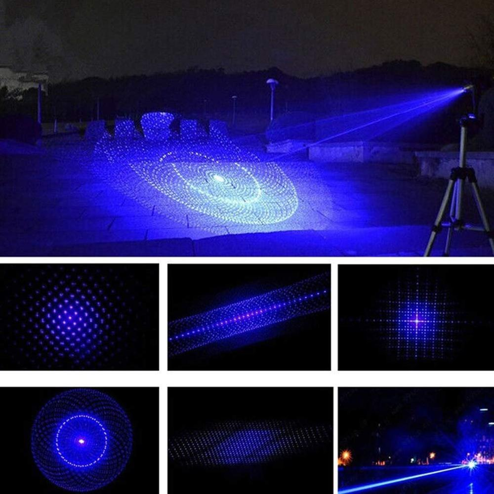 Burning Blue Laser Pointer 450nm 10000m Focusable Most hight Powerful Blue Lazer Pointers Flashlight burn match in Lasers from Sports Entertainment