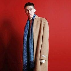 Bufanda de lana MENOGGA tejido a mano brocado patrón en forma de diamante Vintage cálido suave invierno anillo bufanda hombres Unisex par bufandas regalo