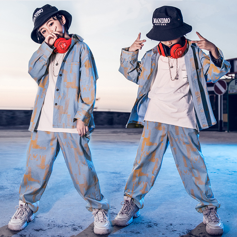 Korean Version Children'S Street Dance Suit Boys Hip Hop Clothing Girls Denim Shirt Handsome Autumn Jazz Dance Costumes DL4832