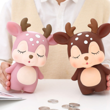 Deer Shaped Piggy Bank Ornaments Cartoon Multi-Function Coin Money Box Crafts Bedroom Tabletop Figurines Cute Gift for Kids popular cartoon cactus piggy bank resin crafts money box home desktop room decorations ornaments for children kids