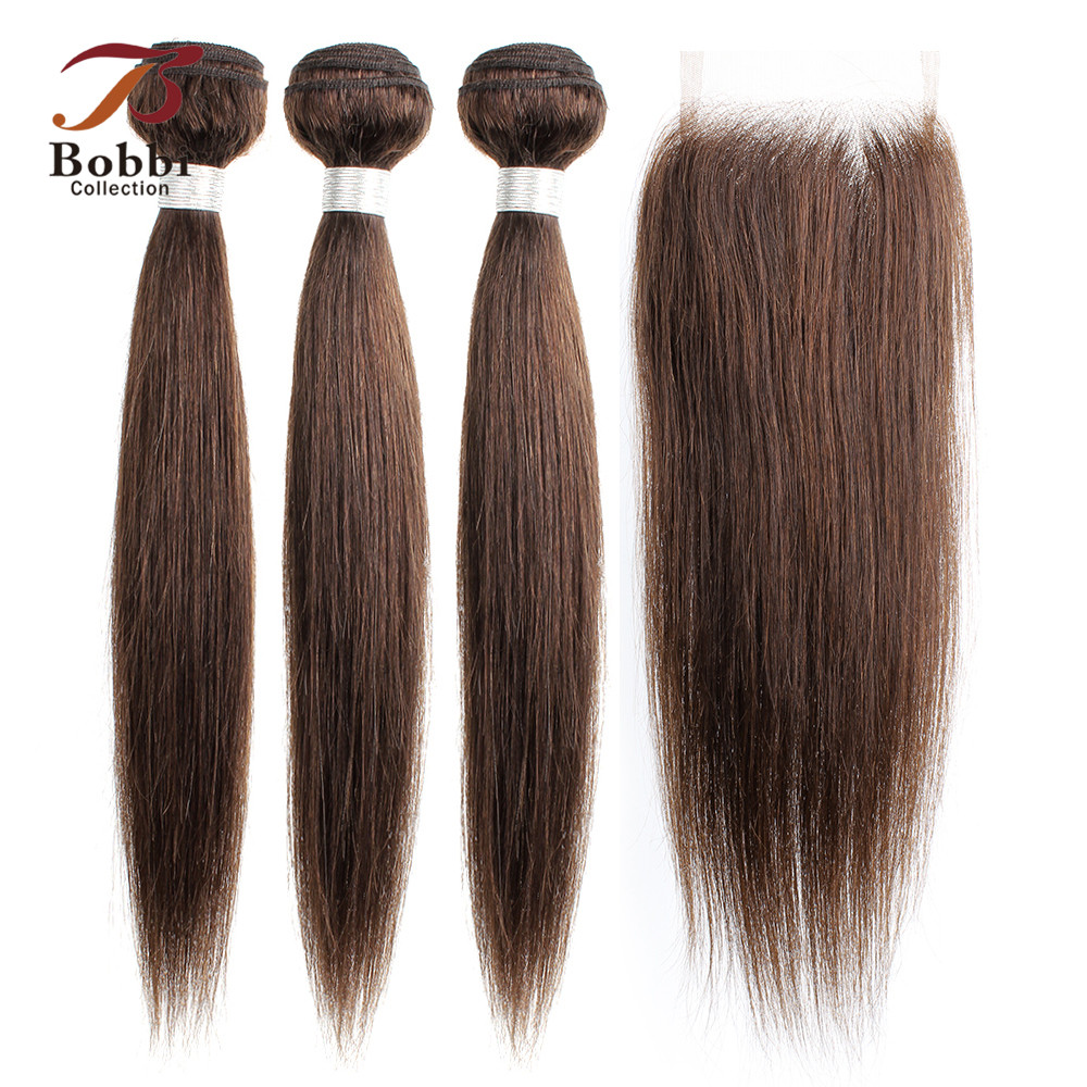 BOBBI COLLECTION Color 2 Brown Peruvian Straight Hair Bundles With Closure 2/3 Bundles With Closure Brown Non-Remy Human Hair