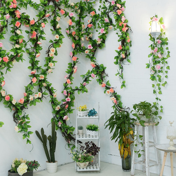 235cm Silk Roses Ivy flower Vine Artificial Flowers Green garland For Home Wedding garden Decoration Hanging Rattan Wall Decor garland flowers wedding decoration artificial hydrangea vine party plastic flowers wall decor rattan silk flower wisteria wreath