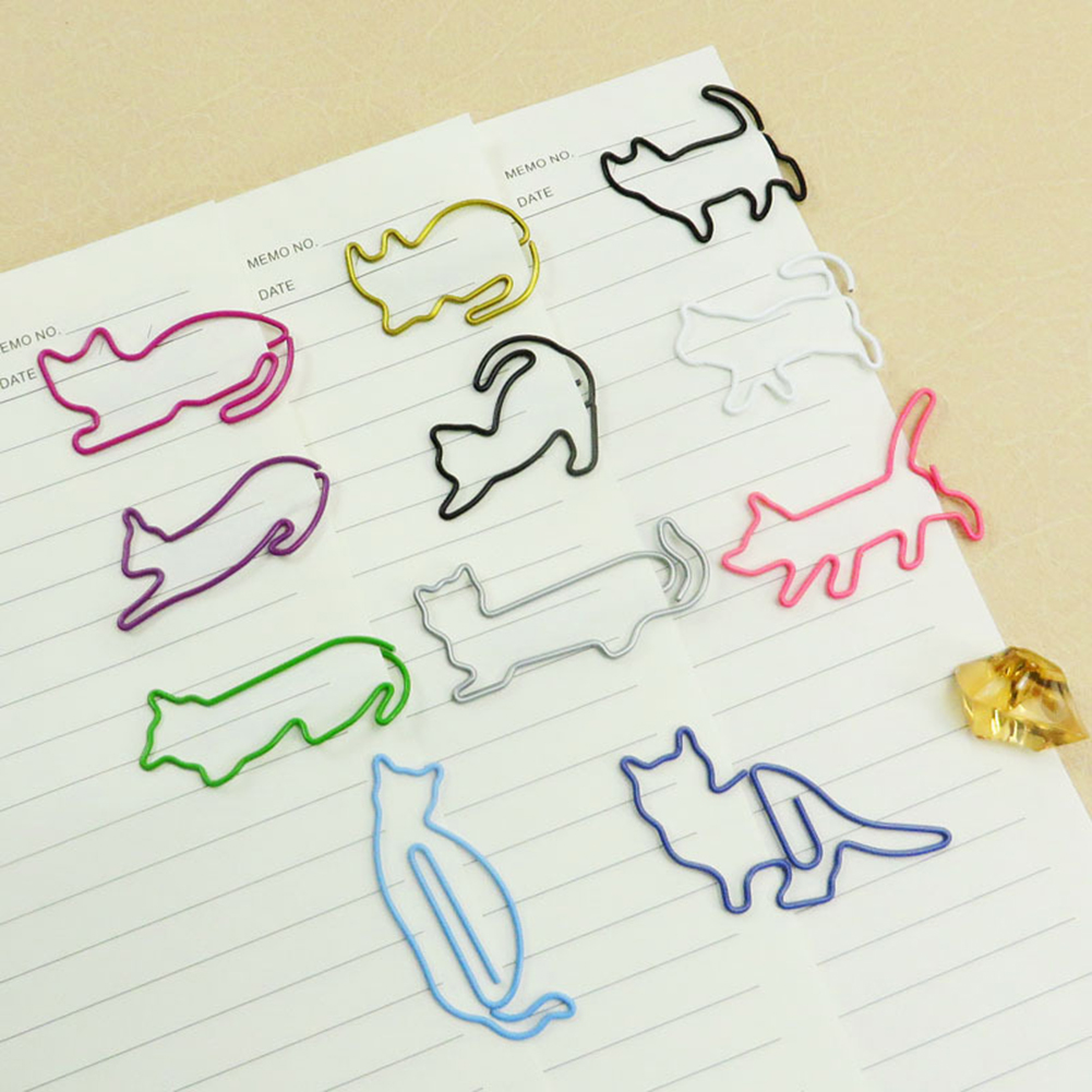 20pcs Animal Cat Paper Clips Bookmark Planner Memo Clips Metal Material For Book Stationery School Office Supplies Stationery
