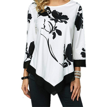 Plus Size S-5XL Women Tops Tee Spring Autumn Female Floral Print T Shirt Casual O-Neck Irregular T Shirt Large Size Top Pullover lace up plus size floral stripe t shirt