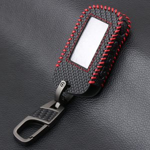 Image 5 - Carbon Fiber Style Leather A93 Car Key Case for Starline A39 A63 Two Way Car Alarm Remote Controller LCD Transmitter KeyChain