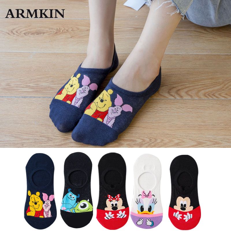 H6e87f2765d5b457aad1b13489025e551R - Disney 5 Pairs/Lot Casual Cute women Scoks Cartoon animal Mickey Mouse Donald Duck invisible ankle Socks Cotton happy Funny sock