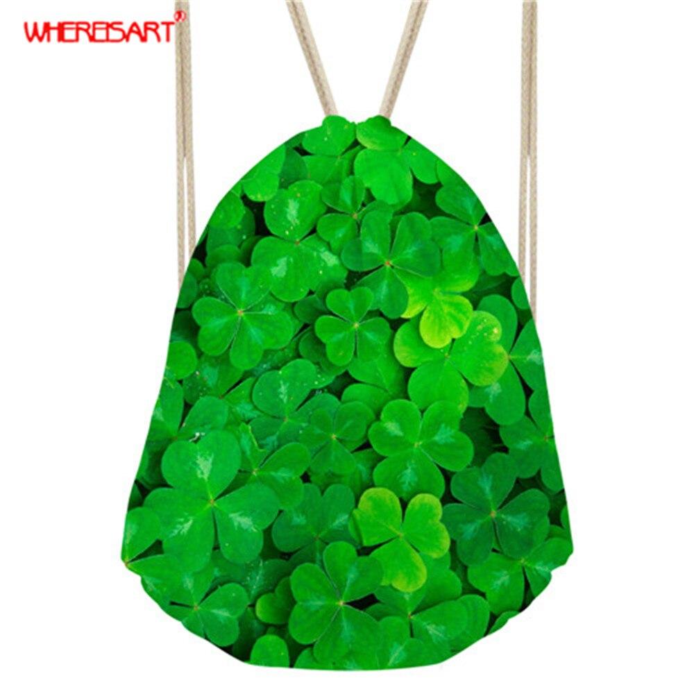 WHEREISART женский рюкзак из веревки с клевером/цветные сумки с цветочным узором для подростков, женские сумки через плечо с растительным дизайн...