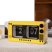 Retro Yellow TV Clock Automatic Flip Clock Fashion Creative Home Table Clock Decoration