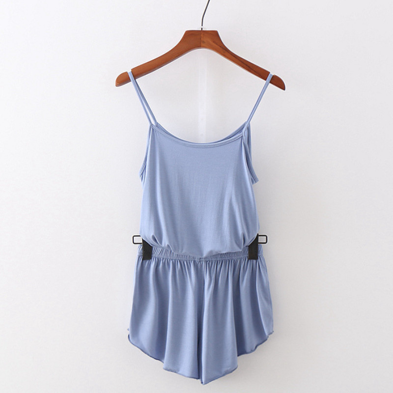 Women Summer Camisole + Shorts Suit Home Two-piece Solid Color Casual Pajamas Sleepwear