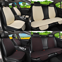 Flax Car Seat Cover Protector with Backrest Front Rear Seat Back Waist Washable Cushion Pad Mat for Auto Universal Fit Most Car