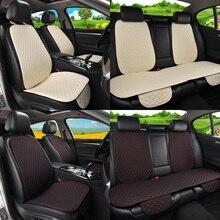 Housses de siège de voiture en lin, avec dossier, tapis de coussin lavable pour siège avant et arrière, lavable pour la plupart des voitures