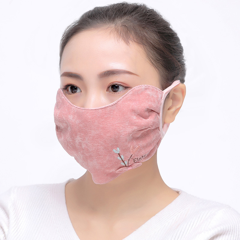 Bay Sunny Women's Boutique Corduroy Eye Protection Warm Face Mask Winter New Style Women's Cold Flannel Face Mask