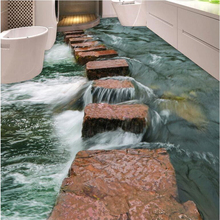 Custom floor painting 3d clear river stone slab path bathroom bedroom 3D floors home decor living room papel de parede flooring free shipping hd underwater world 3d floor painting thickened bedroom bathroom living room study lobby square flooring mural
