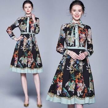 2019 Spring Summer Fall Runway Baroque Floral Print Bow Tie Neck Long Sleeve Empire Waist Women Ladies' Casual A-Line Midi Dress empire waist tartan print slip dress