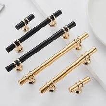 Modern Zinc Alloy Black Gold Door Handles Kitchen Cabinet Handles Solid Drawer Knobs Fashion Furniture Handle Hardware