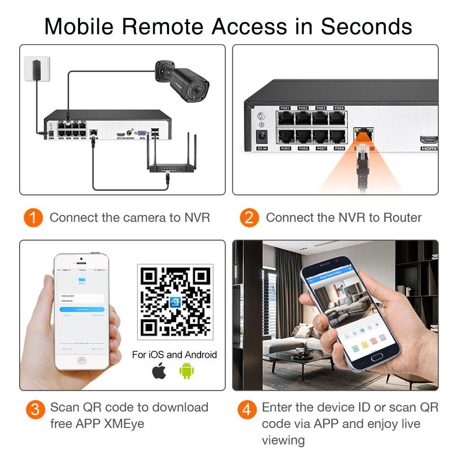 Techege 5MP Audio POE Kit H 265 System 8CH CCTV Security NVR