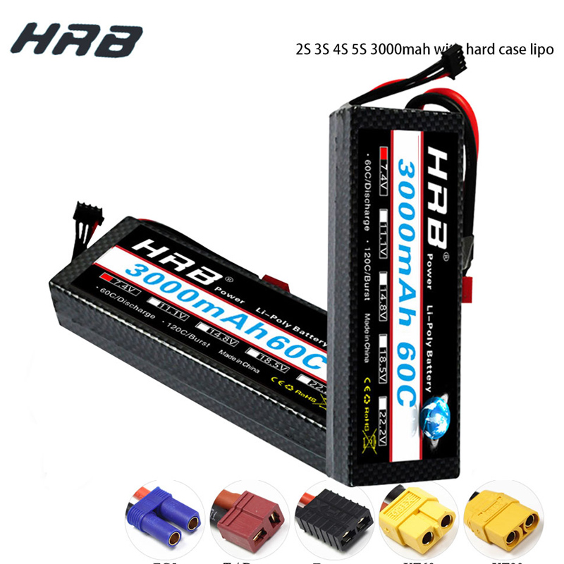 HRB RC Lipo Battery 3000mAh 2S 3S 4S 5S 7.4V 11.1V 14.8V 18.5V 60C 120C XT60 Hard Case For RC Cars Monster Quadcopter Helicopter