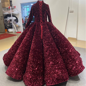 Image 2 - J66991 Jancember Formal Dress For Teenagers High Neck Long Sleeve Sequined Red Quinceanera Dresses 2020