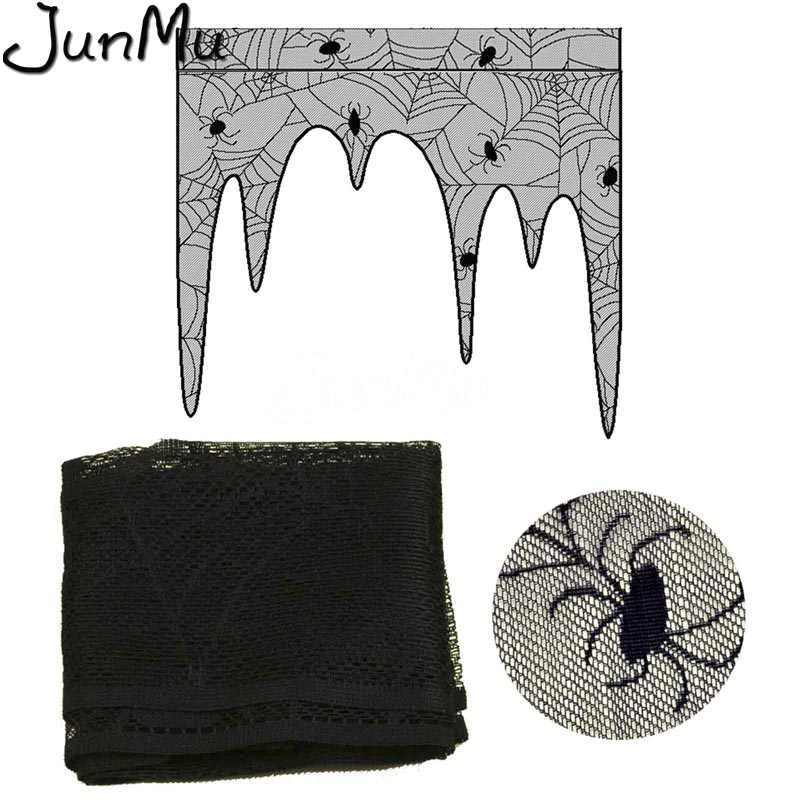 Halloween Curtains Black Lace Bat Spiderweb Window Curtain for Living Room Halloween Decoration Party Supplies
