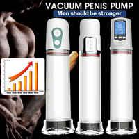 Vibrador extender la bomba del pene juguete sexual pene entrenamiento eléctrico masculino automático alargador del pene USB recargable masturbador