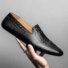 Black Men Loafers Shoes Luxury genuine leather Slip-on Mocca