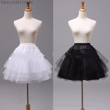 Long 45CM White or Black Short Petticoats 2019 Women A Line 3 Layers Underskirt for Wedding Dress Jupon Cerceau Mariage(China)