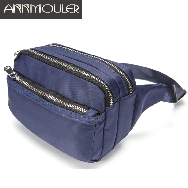 Annmouler Large Capacity Fanny Pack For Women Tri-zipper Waist Bag High Quality Phone Pocket Purse Black Adjustable Chest Bag