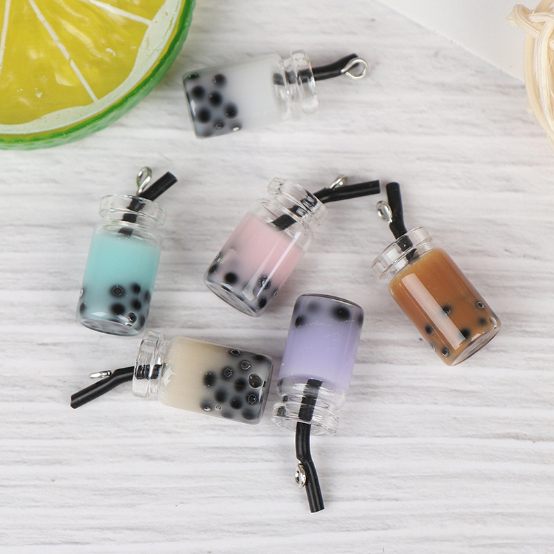 1:12 Resin Dollhouse Mini Lemon Milk Tea Water Cup Miniature Dollhouse Accessories Cups Toy Mini Gifts Milk Tea Model Toy 2pcs