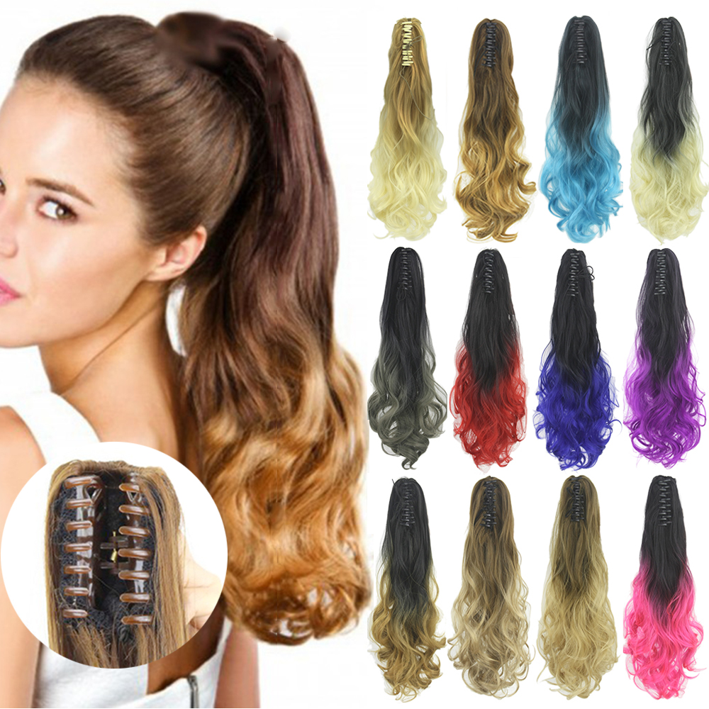 Soowee Wavy Clip On Hairpiece Extensions  Little Pony Tail Clip Synthetic Hair Claw Ombre Ponytail Hair Pieces Colas De Pelo