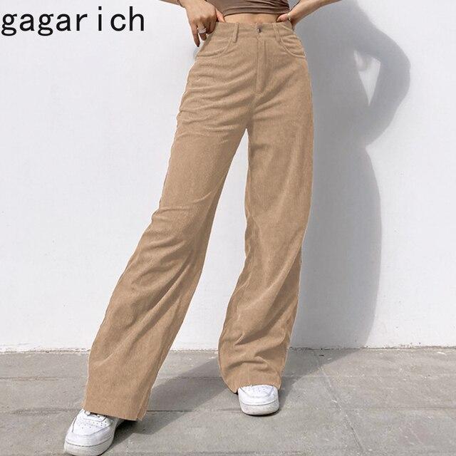 Gagarich Women Casual Pants Retro Vintage Corduroy Spring High Waist Loose Slim Solid Casual All-match Straight-Leg Pants 1