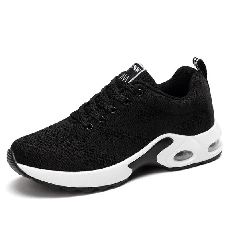 KAMUCC/Новинка; женские кроссовки на платформе; дышащая женская повседневная обувь; модная женская обувь, увеличивающая рост; большие размеры 35-42 - Цвет: Черный